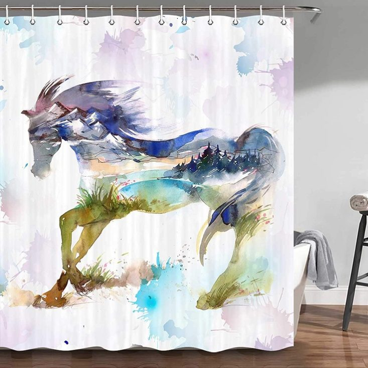 Horse Shower Curtain, Western Country Unique Watercolor