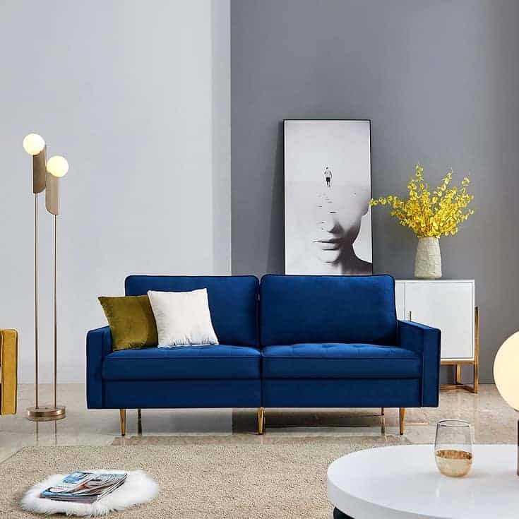 """Halimah 77.2"""" Wide Velvet Reversible Sofa & Chaise with Ottoman"""