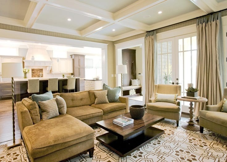 Inspiration for a large timeless open concept and formal medium tone wood floor living room