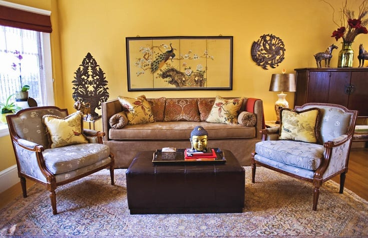 Inspiration for a timeless living room remodel in San Francisco with yellow walls