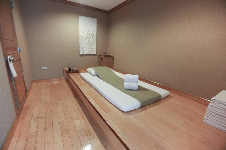View of the nice massage room in spa saloon