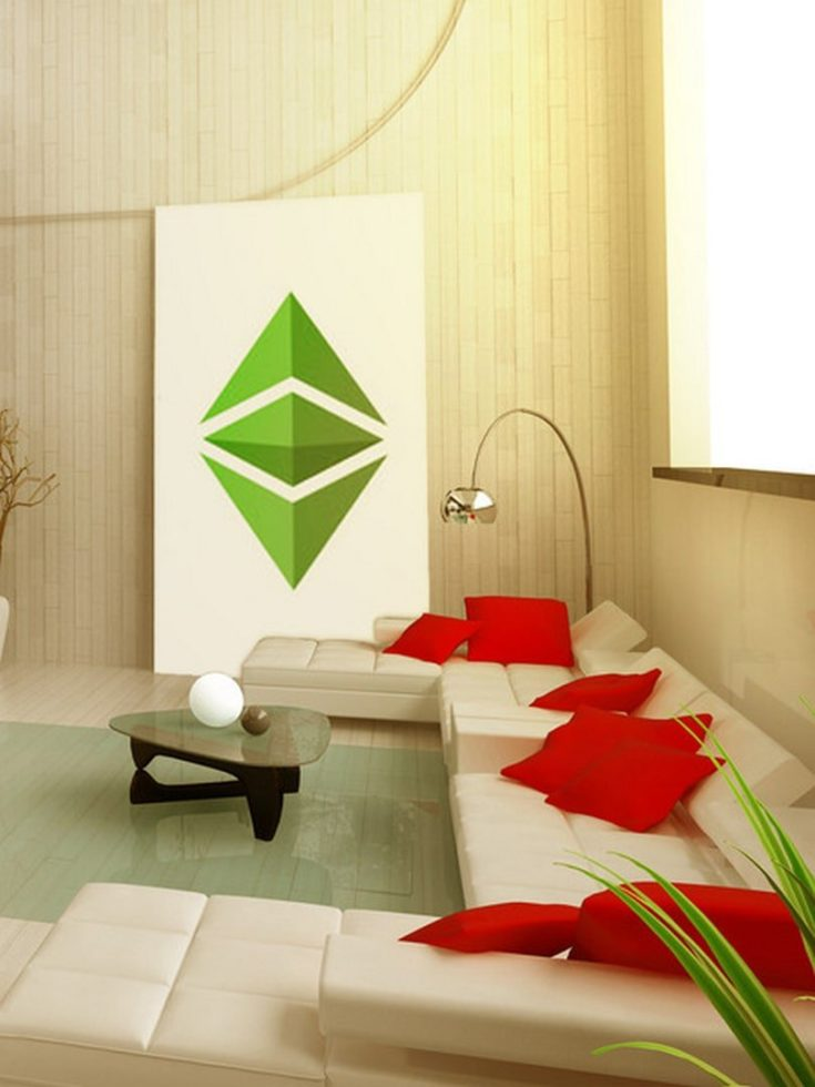 Bright Red and Green theme living room