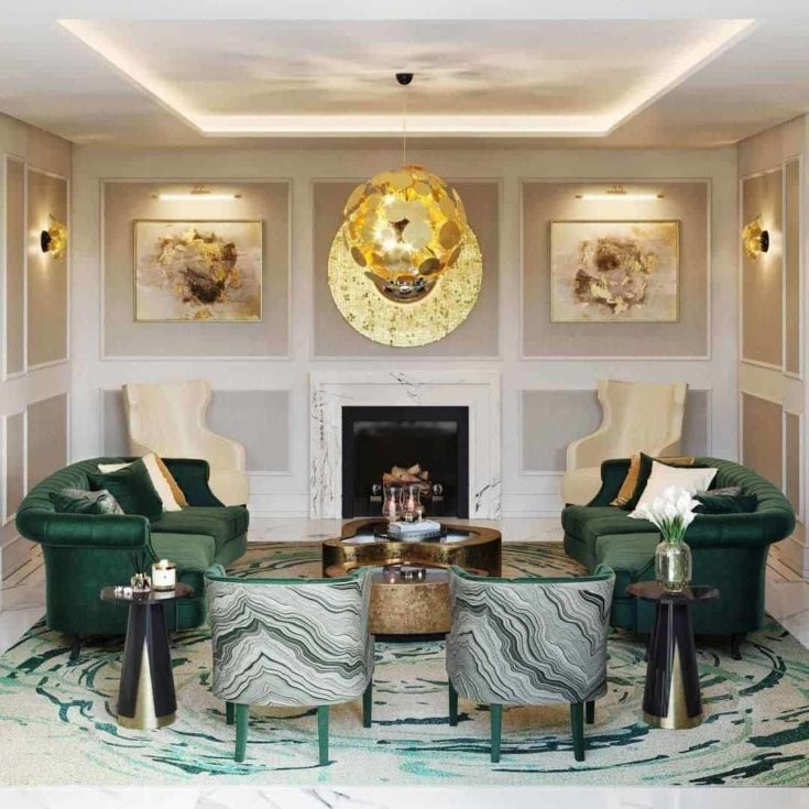 Emerald on Gold Living Room