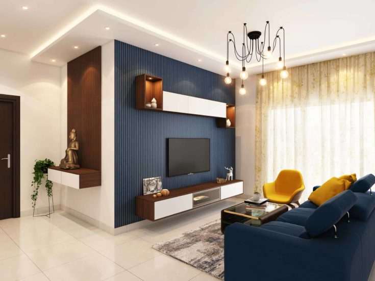 Living room with Navy Statement design