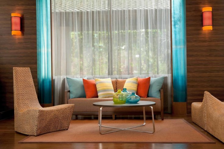 Contemporary Living Room with color wheel theme
