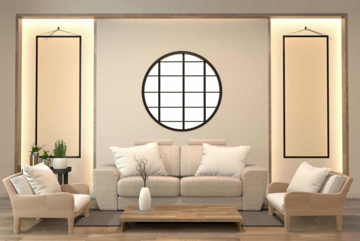 minimal interior design room zen style with sofa, arm chair, low table and decoration japan style design hidden light in shelf wall.3D rendering