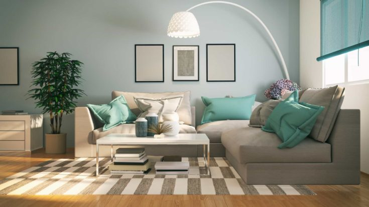 Picture of modern, comfortable living room. Render image.