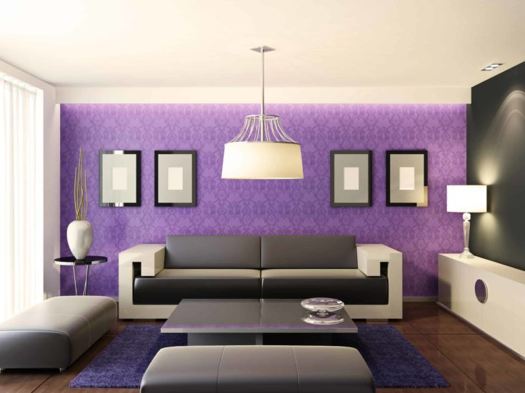 High quality 3D image of modern living room in purple theme wall.