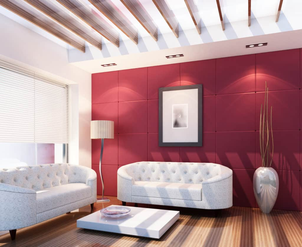 High quality 3D image of modern living room at Mediterranean Sea.