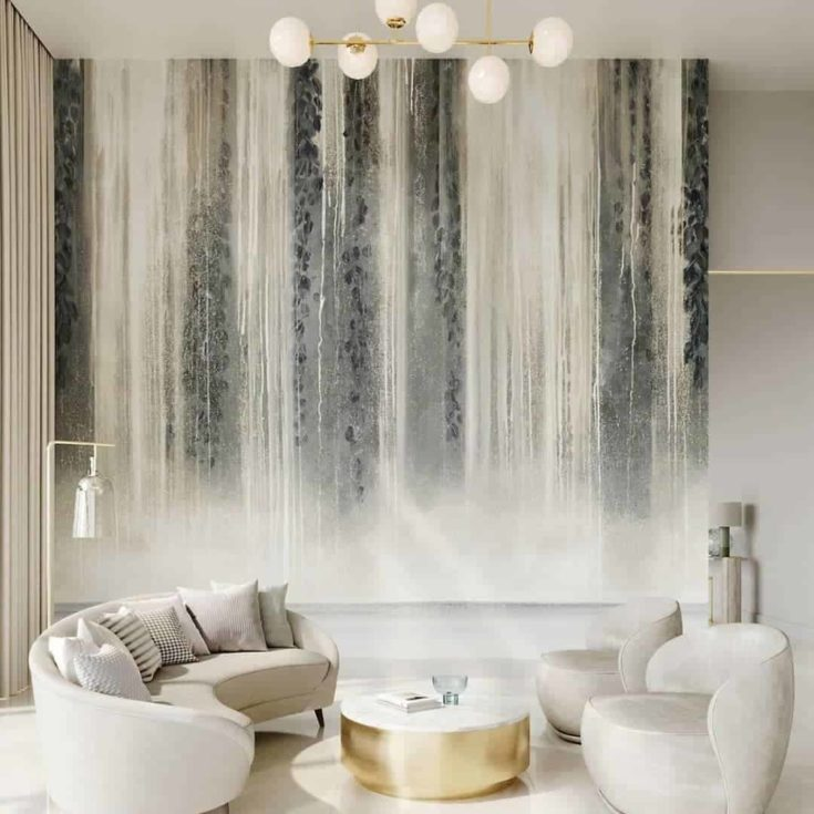 Waterfall wallpaper design in the living room