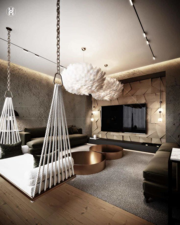 Whimsy Modern Living Room with swing and the cloud-like ceiling fixture