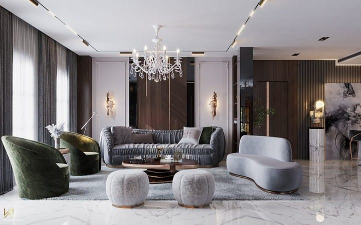 luxurious living room with crystal chandeliers