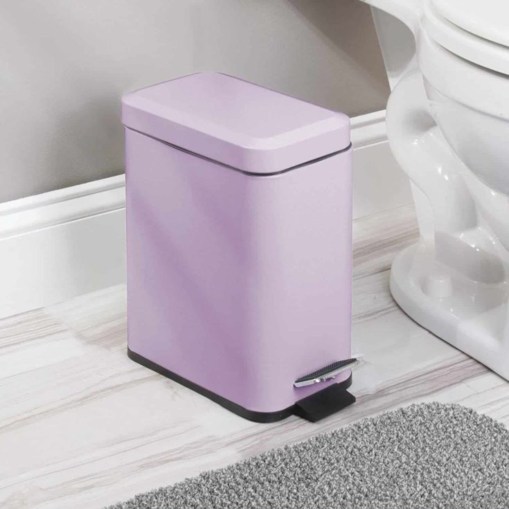 purple Garbage Container Bin in the bathroom