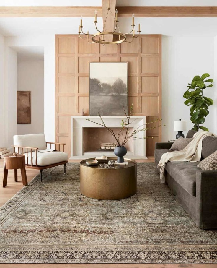 wooden wall panel design in the living room