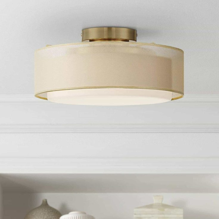 Gold Dual Shade Wide Drum Ceiling Light
